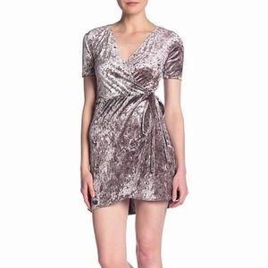 Love...Ady Gray Women's V-Neck Velvet Wrap Dress